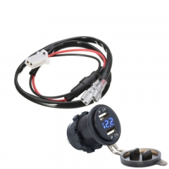 Car Motorcycle 12V 4.2A Dual USB Charger Socket Blue LED Light Voltmeter