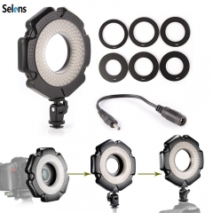 Selens Dimmable 5600K Video 160 LED Macro Ring Light + Lens Adpater Ring Kit as picture