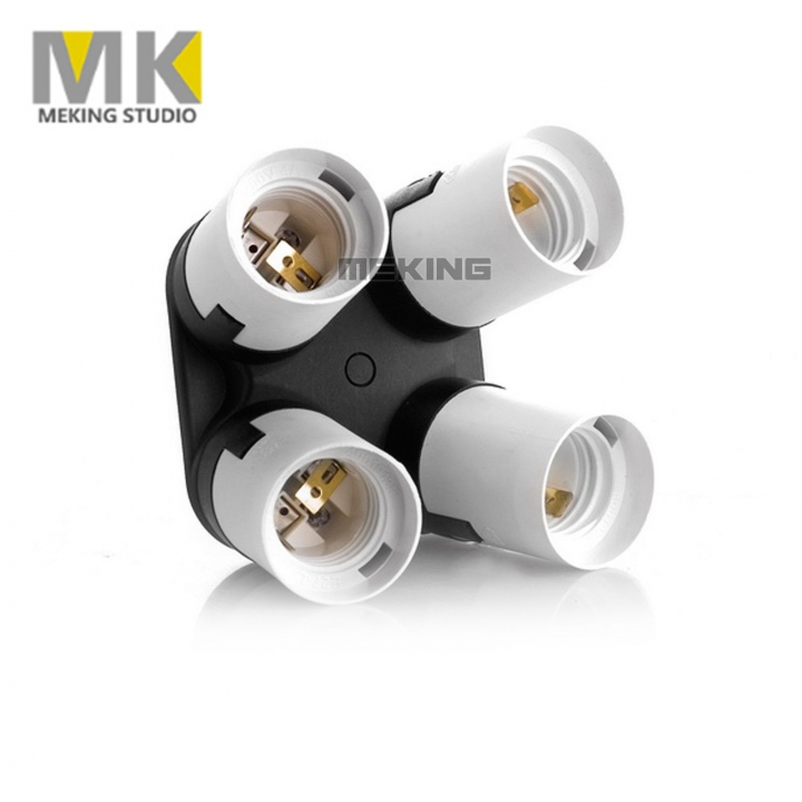 Meking 4 in 1 Light Lamp E27 Adapter Holder for Four Continuous Light Bulb as picture one size