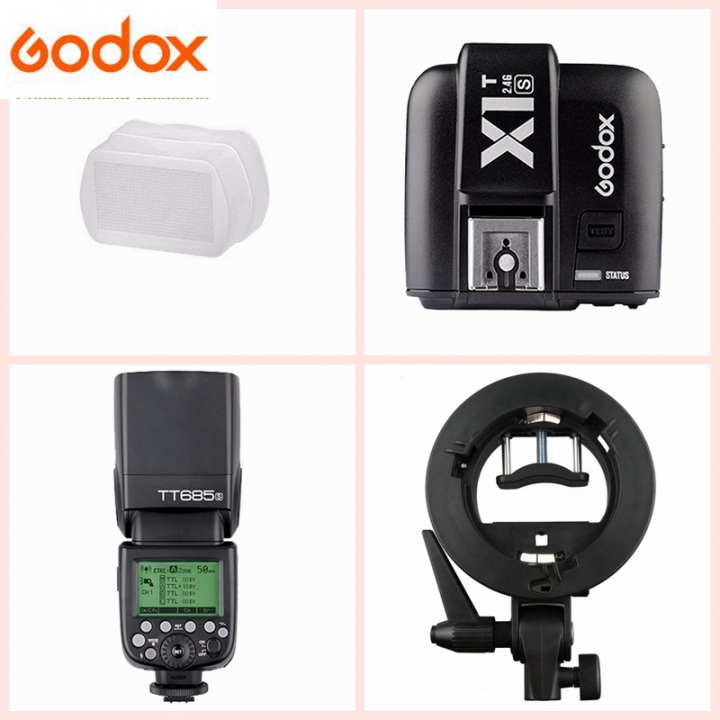 Godox TT685S HSS TTL GN60 Flash for Sony + X1T-S Transmitter +Bowens Bracket Kit 1* diffuser one size