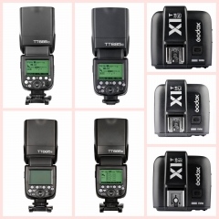 Godox TT685 2.4G Wireless HSS TTL GN60 Flash Speedlite+X1T Trigger for Canon Nikon Sony Olympus Fuji 1* X1T-Fuji Trigger one size