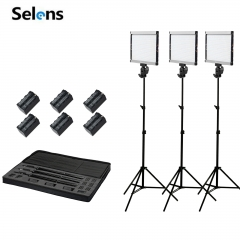 Selens Photography 3 lighting Kit Slim GE-500 Dimmable 5600K Daylight LED Panel Video Camera as picture one size
