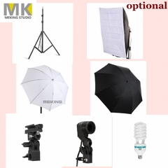 Pro Photo Studio Accessories, Light Stand, E27 Bulbs & Holder, Flash Bracket, Umbrella, Softbox as picture(included all items) one size