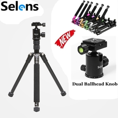 Selens Tripod Aluminum Alloy T-170 Portable Travel Tripod Monopod With Ballhead for DSLR Camera Silver grey one size