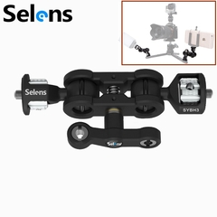 Selens 60° Articulating Arm with Double Ballheads Adapter ( with 1/4'', 3/8'' Screw), Max Load 6KG as picture one size