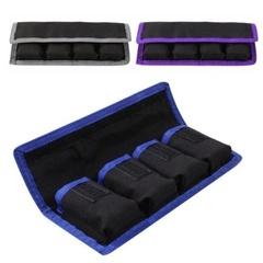 Nylon Battery bag Storage Pockets Pouch Waterproof with 4 Pouch For LP-E6/8/ NP-FW50 EN-EL14/15 blue 1pcs