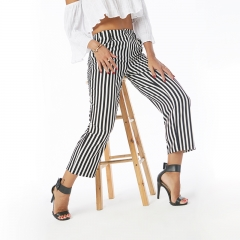 Fashion Women Summer Autumn Striped High Waist Wide Leg Casual Pants Trousers as picture m