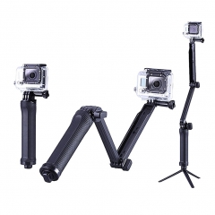 GoPro 3-Way Monopod Arm Mount Adjustable stand Bracket Handheld Grip 3 Way Tripods black one size