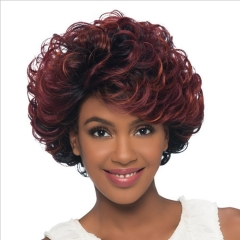 Female Colour Short Curly Hair Fluffy Wig Black Matte Red Wine Hairstyle Personality wine red one size