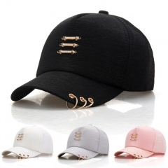 Fashion Metal Three Bars & Hoop Baseball Cap For Women & Girl Casual Snapback Cap Bone Dad Hat black