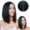 Ladies wigs-Bobo short straight side bangs long hair wig caps balck one size