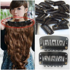 20pcs Snap Comb Clips 32mm Hairclips for Toupee Wig Weft Hair Extension RubberSimple Hairgrips As picture show one size