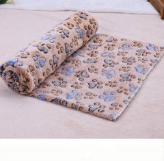 60 x 80cm Cute Floral Pet Sleep Warm Paw Print Dog Cat Puppy Fleece Soft Blanket Beds Mat Coffee 60x80cm