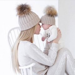 Mom and Baby Matching Knitted Hats Winter Mink PomPom Kids Children Mommy Headwear Hat Caps white