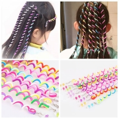 6 Pcs/Set Kids Curler Hair Braid Hair Sticker Kids Girls' Decor Hair Accesories Hair styling tool multicolor