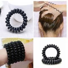 3 PCS Hair Rope Black Elastic  Rubber  Hair Ties Plastic Rope Hair Band Accessories black one size