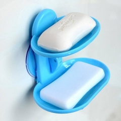 Fashion strong suction cup double layer soap box soap dishes water bunk soap holder bath basket Random one size