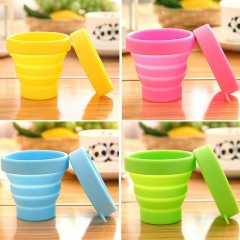 Protable Solid Color Water Silicone Cups Folding Gargle Cup For Outdoor Travel Drinkware Tools Random one size