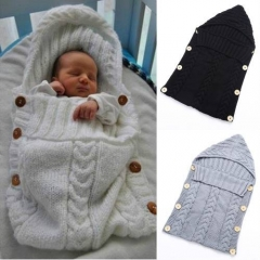 Baby Swaddle Wrap Warm Wool Crochet Knitted Newborn Infant Sleeping Bag White One size