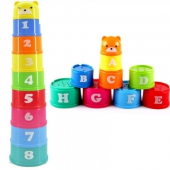 Baby Educational Toy New building block Figures Letters Folding Cup Pagoda Gift 9Pcs/set Show as the picture Multicolor