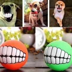 Pet Dog Puppy Ball Teeth PVC Chew Toys Sound Novelty Playing Funny Toys ( Random Color ) random one size