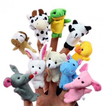 5 Pcs/Lot Animal Finger Puppets Plush Toy Tell Story Props Cute Cartoon Dolls Hand Puppet For Kids Random one size