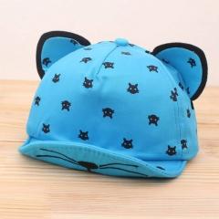 Baby Hat Ears Beard Stars Cat Cartoon Newborn Cap Kids Baseball Hat Summer Baby Boy Girl Sun Hats blue one size
