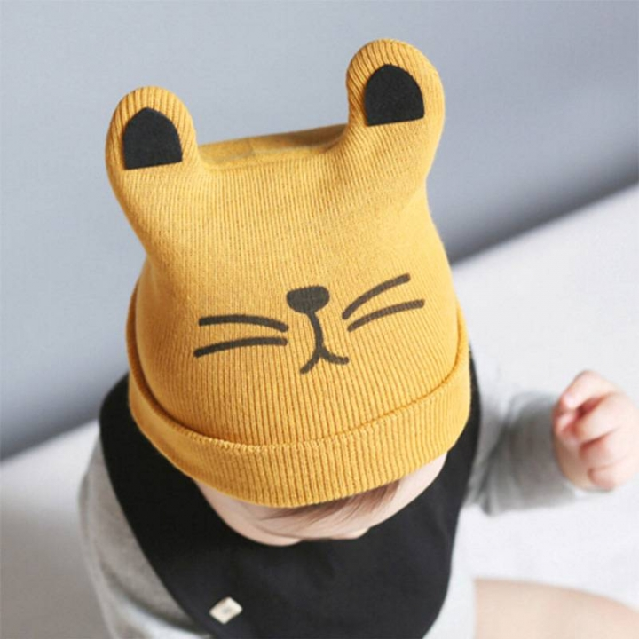 d9f0eecdfeb Cartoon Baby Hats Cat Knitted Cap Beard With Ears Winter Warm Newborn Caps  yellow one size