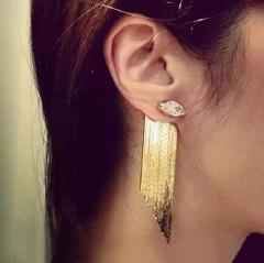 Statement tassel long earrings for women trendy fashion party jewelry gold one size