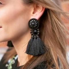 Brincos Women Drop Dangle Fringe Earring Vintage Ethnic Statement Tassel Earrings Fashion Jewelry black one size