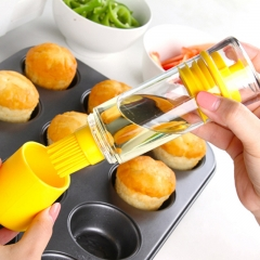 Silicone Brush with Bottle For Barbecue Cooking Baking Pancake BBQ Tools Honey Oil Brush Kitchen yellow one size