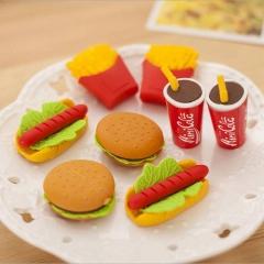 5pcs Cute Kawaii Cake Hamburger Food Drink Coke Eraser Set Stationery  Kids Gift