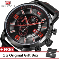 MINI FOCUS Top Luxury Brand Watch Famous Fashion Sports Men Quartz Watches Gift For Male MF0025G red one size