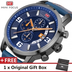 MINI FOCUS Top Luxury Brand Watch Famous Fashion Sports Men Quartz Watches Gift For Male MF0025G blue blue one size