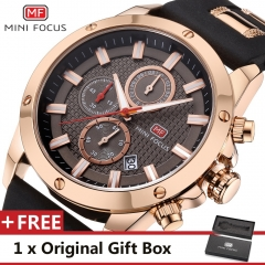 MINI FOCUS Top Luxury Brand Watch Famous Fashion Sports Men Quartz Watches Gift For Male MF0089G Gold one size