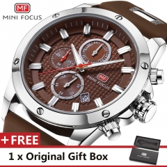 MINI FOCUS Top Luxury Brand Watch Famous Fashion Sports Men Quartz Watches Gift For Male MF0089G Brown one size
