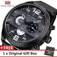 MINI FOCUS Top Luxury Brand Watch Famous Fashion Sports Men Quartz Watches Gift For Male MF0068G black one size