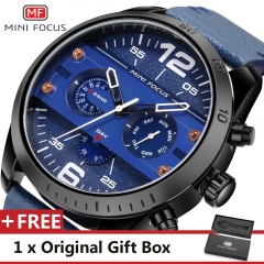 MINI FOCUS Top Luxury Brand Watch Famous Fashion Sports Men Quartz Watches Gift For Male MF0068G blue one size