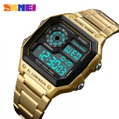 SKMEI Men Sports Watches Count Down Watch Stainless Steel Fashion Digital Wristwatches Male SKM1335 gold one size