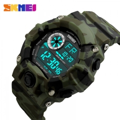 SKMEI Military Sports Watches Men Alarm Watch LED Back Light Shock Digital Wristwatches SKM1019 Camouflage green one size