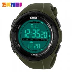 SKMEI Men Climbing Sports Digital Wristwatches Big Dial Military Watches Alarm Shock Watch SKM1025 army green one size