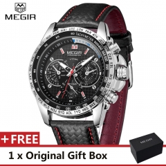 MEGIR Watch Famous Fashion Sports Cool Men Quartz Watches Polyurethane Wristwatch For Male MGE1010G black one size