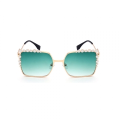 2017 Trend Fashion Oversized Square Sunglasses with Diamond for women girls green 001