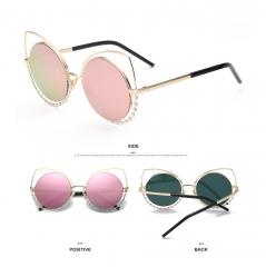 2017 Trend Cat Eye Sunglasses Oversized Round Metal Frame Flash Mirror Lens Sun glasses pink 001
