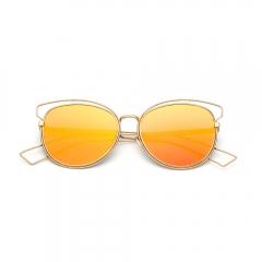 2017 Color Lens Round Women Sunglasses Metal Frame For Women orange 001