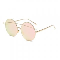 2017 Vintage Large Round Sunglasses Metal Glasses Frame pink 001