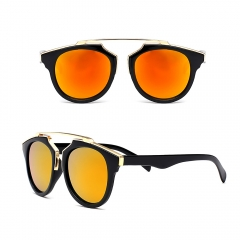 Women's Cat Eye Oversized Fashion Retro Color Mirrored Polarized Sunglasses orange 001