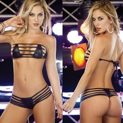 Women's Sexy Lingerie 2 Pieces Leather Bralette Set black all code