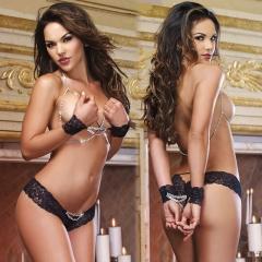 Swxy Lingerie hollow three-point temptation package female prisoners installed bikini fun pajamas black all code