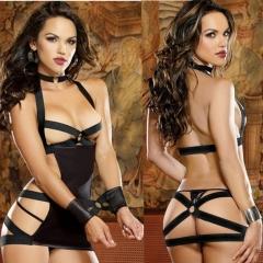 Sexy Lingerie underwear black female prisoners tied to the temptation set dew cream hollow pajamas black all code